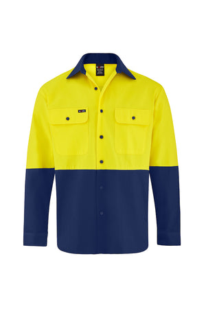HIGH VIS LONG SLEEVE COTTON DRILL SHIRT (TWO TONE)-Riggers Online Store