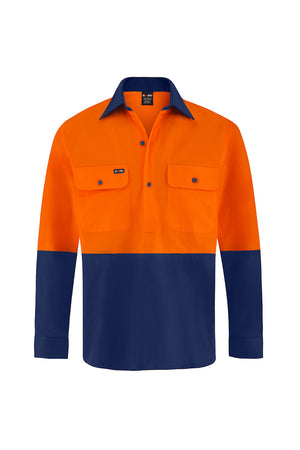 HIGH VIS ULTRA COOL LONG SLEEVE CLOSED FRONT COTTON VENTED SHIRT (TWO TONE)-Riggers Online Store