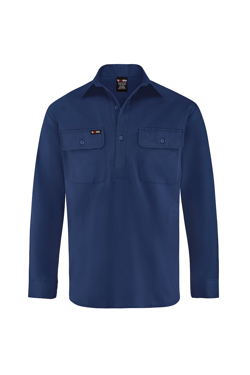 LONG SLEEVE CLOSED FRONT COTTON DRILL SHIRT-Riggers Online Store