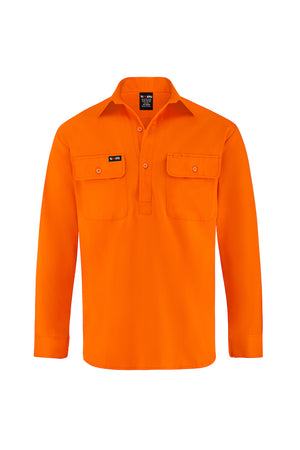 HIGH VIS LONG SLEEVE CLOSED FRONT COTTON DRILL SHIRT-Riggers Online Store