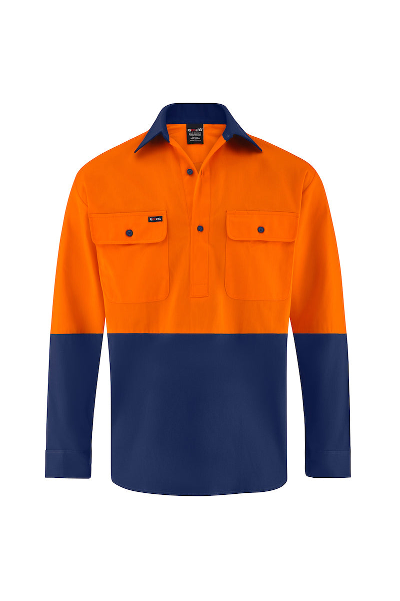 HIGH VIS LONG SLEEVE CLOSED FRONT COTTON DRILL SHIRT (TWO TONE)