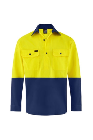 HIGH VIS LONG SLEEVE CLOSED FRONT COTTON DRILL SHIRT (TWO TONE)-Riggers Online Store