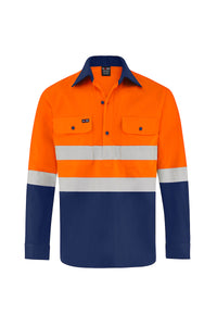 HIGH VIS ULTRA COOL LONG SLEEVE CLOSED FRONT COTTON VENTED SHIRT (REFLECTIVE - TWO TONE)