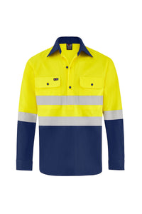 HIGH VIS ULTRA COOL LONG SLEEVE CLOSED FRONT COTTON VENTED SHIRT (REFLECTIVE - TWO TONE)-Riggers Online Store