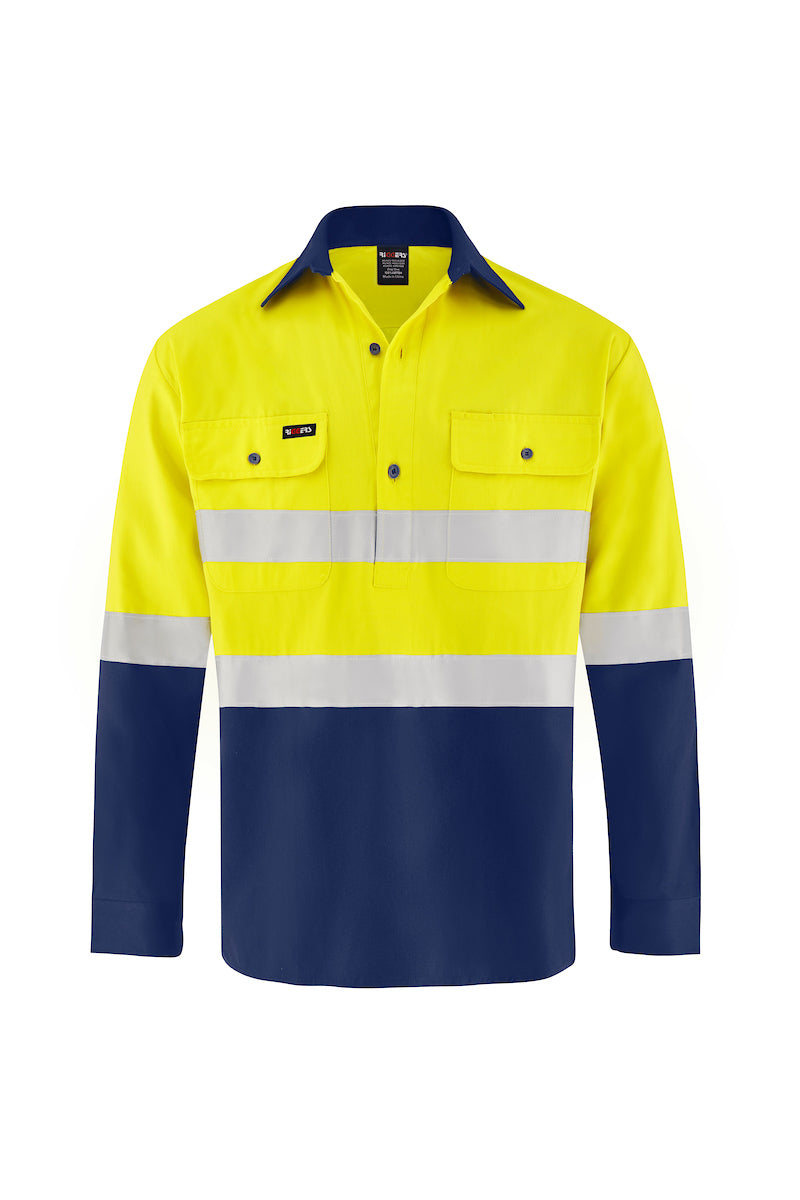 HIGH VIS LONG SLEEVE CLOSED FRONT COTTON DRILL SHIRT (REFLECTIVE - TWO TONE)-Riggers Online Store