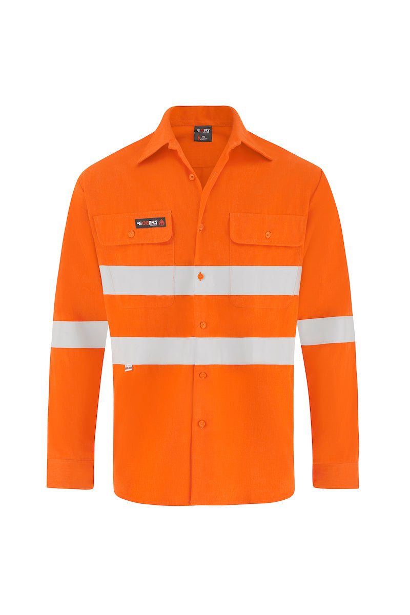 INDURA ULTRASOFT LONG SLEEVE FIRE RETARDANT LIGHT WEIGHT HRC1 SHIRT (FR REFLECTIVE)-Riggers Online Store