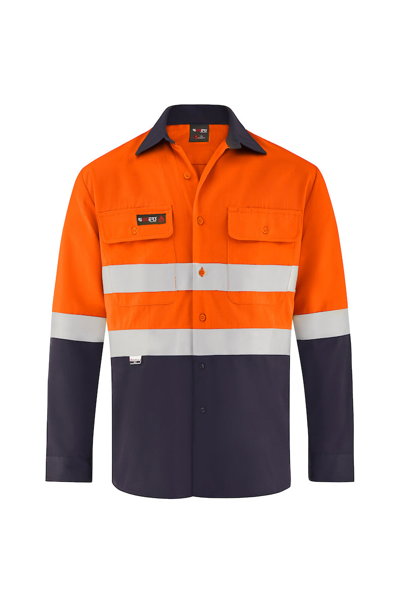 INDURA ULTRASOFT LONG SLEEVE FIRE RETARDANT HRC2 SHIRT (FR REFLECTIVE - TWO TONE)-Riggers Online Store