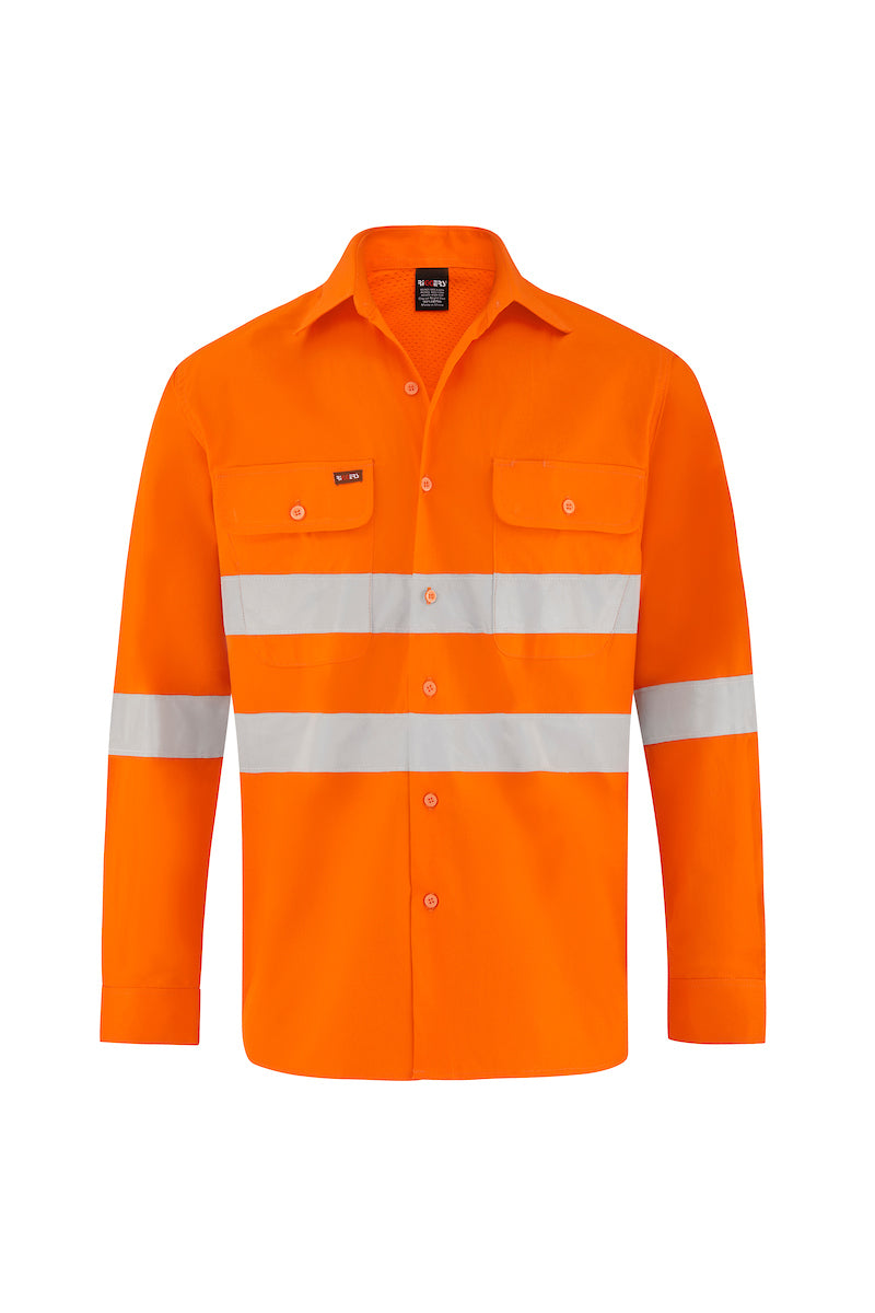 HIGH VIS ULTRA COOL LONG SLEEVE COTTON VENTED SHIRT (REFLECTIVE)-Riggers Online Store