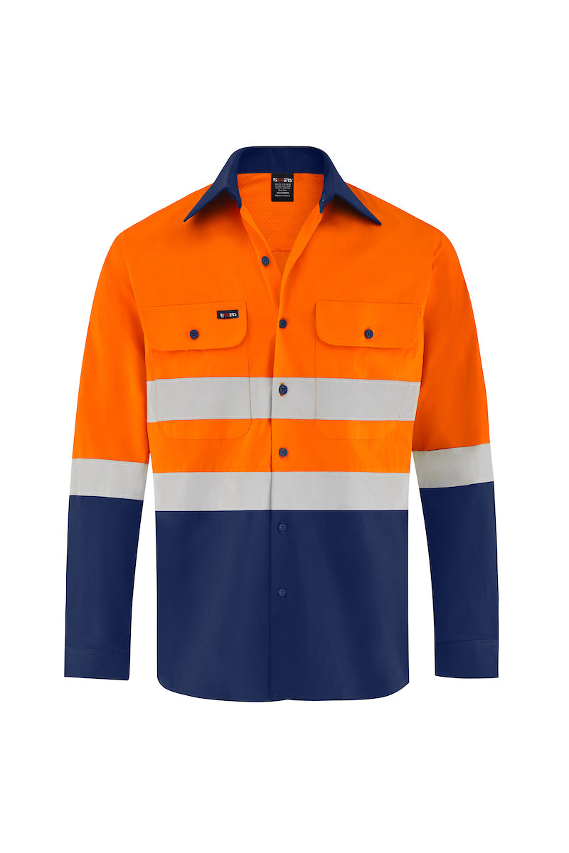HIGH VIS ULTRA COOL LONG SLEEVE COTTON VENTED SHIRT (REFLECTIVE - TWO TONE)-Riggers Online Store