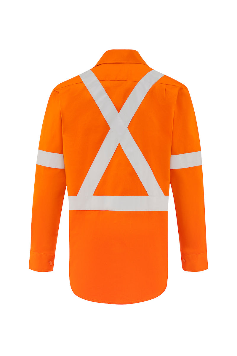HIGH VIS LONG SLEEVE COTTON DRILL SHIRT (REFLECTIVE - X STYLE)-Riggers Online Store