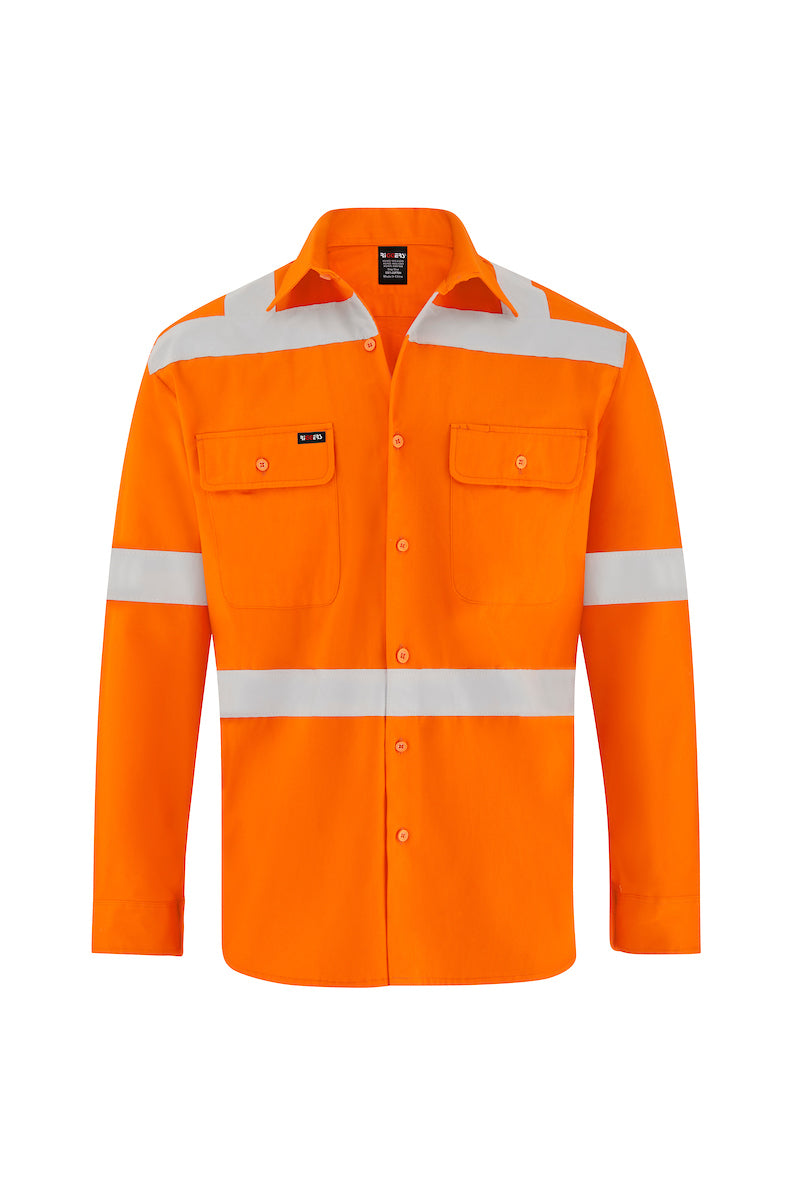 HIGH VIS LONG SLEEVE COTTON DRILL SHIRT (REFLECTIVE - X STYLE)