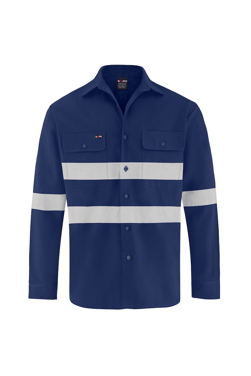 LONG SLEEVE COTTON DRILL SHIRT (REFLECTIVE)-Riggers Online Store
