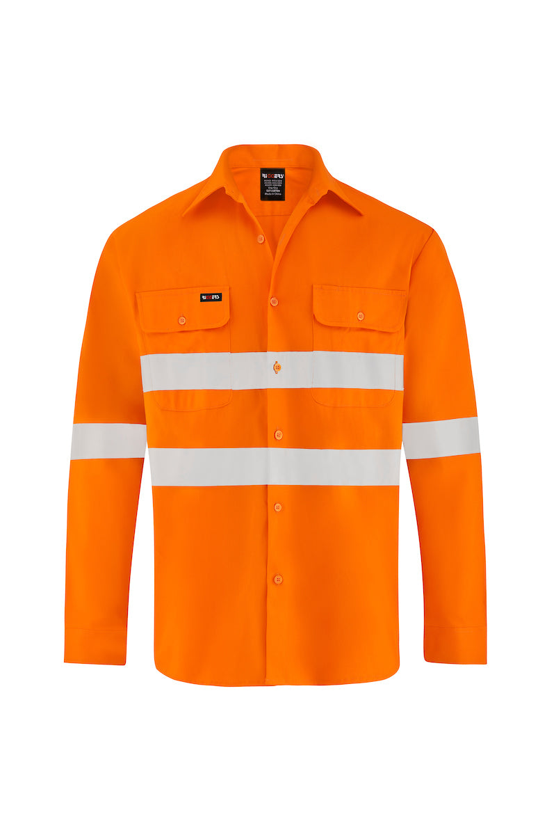 HIGH VIS LONG SLEEVE COTTON DRILL SHIRT (REFLECTIVE)-Riggers Online Store
