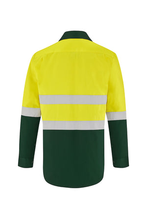 HIGH VIS LONG SLEEVE COTTON DRILL SHIRT (REFLECTIVE - TWO TONE)-Riggers Online Store