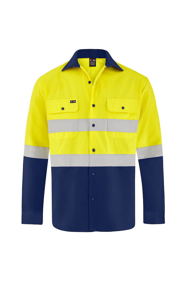 HIGH VIS LONG SLEEVE COTTON DRILL SHIRT (REFLECTIVE - TWO TONE)