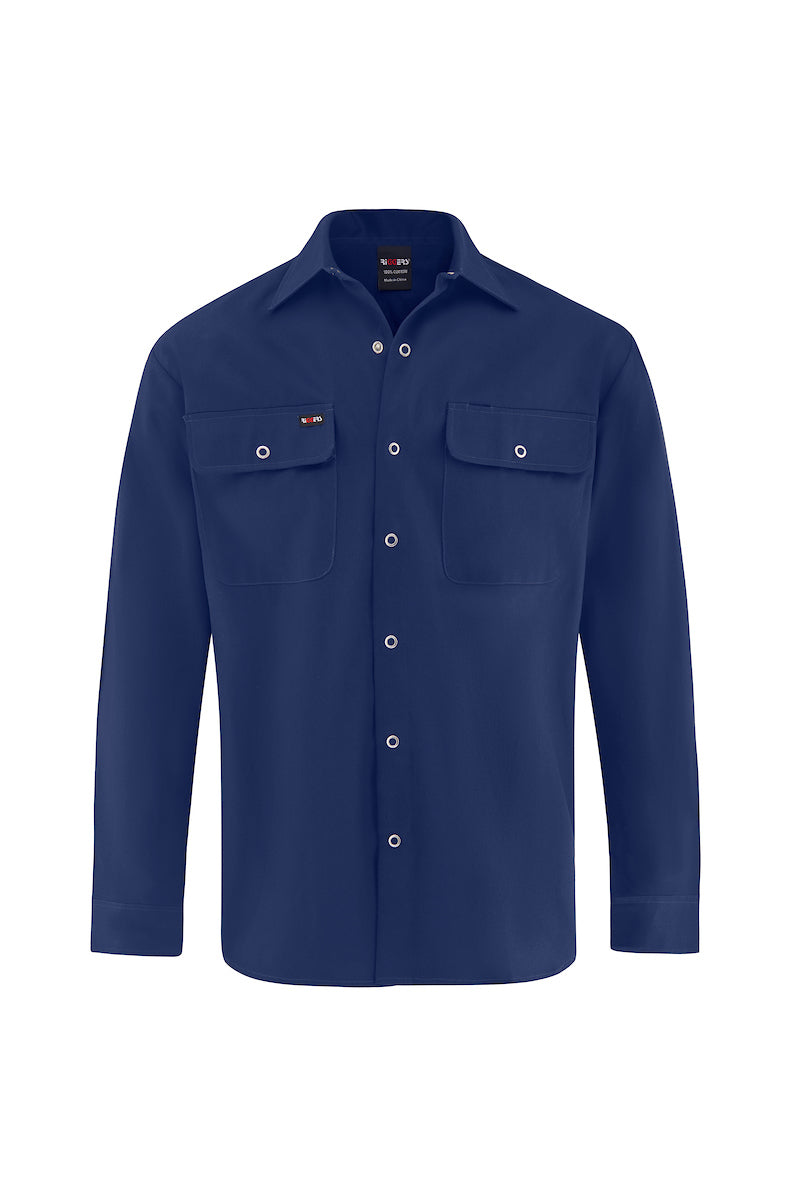 LONG SLEEVE SNAP BUTTON COTTON DRILL SHIRT-Riggers Online Store