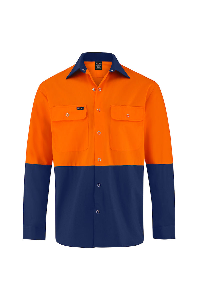 HIGH VIS LONG SLEEVE SNAP BUTTON COTTON DRILL SHIRT (TWO TONE)-Riggers Online Store