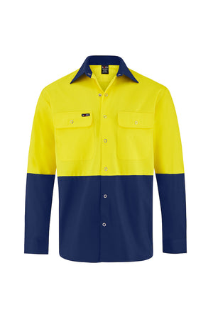 HIGH VIS LONG SLEEVE SNAP BUTTON COTTON DRILL SHIRT (TWO TONE)