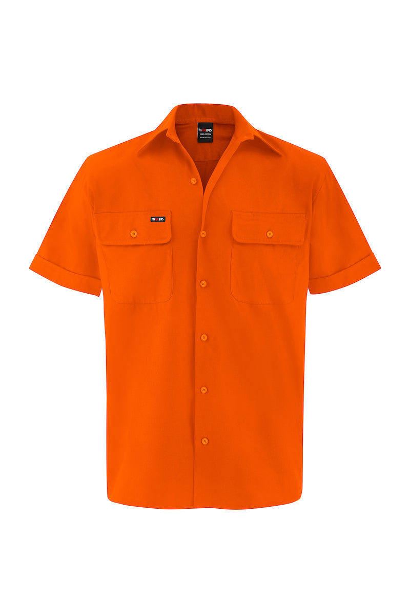 HIGH VIS SHORT SLEEVE COTTON DRILL SHIRT