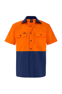 HIGH VIS SHORT SLEEVE COTTON DRILL SHIRT (TWO TONE)-Riggers Online Store