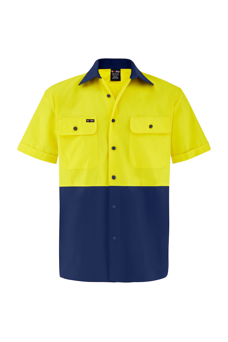 HIGH VIS SHORT SLEEVE COTTON DRILL SHIRT (TWO TONE)