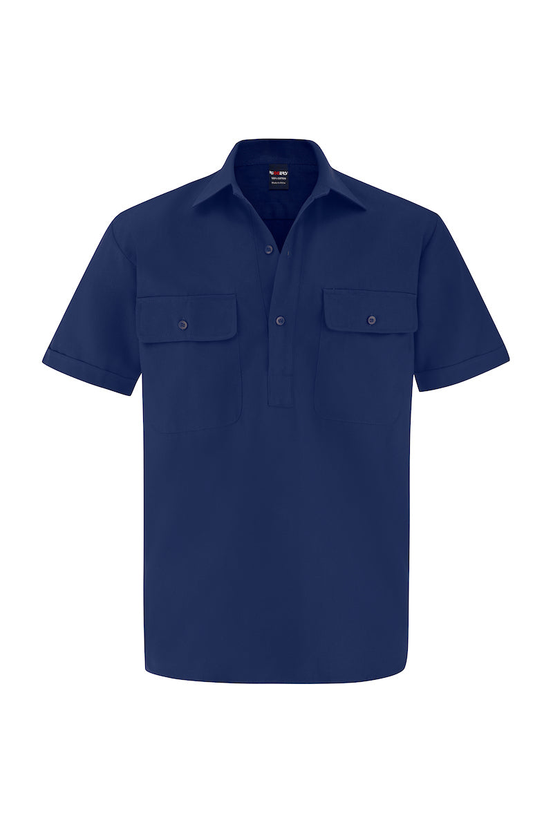 SHORT SLEEVE CLOSED FRONT COTTON DRILL SHIRT