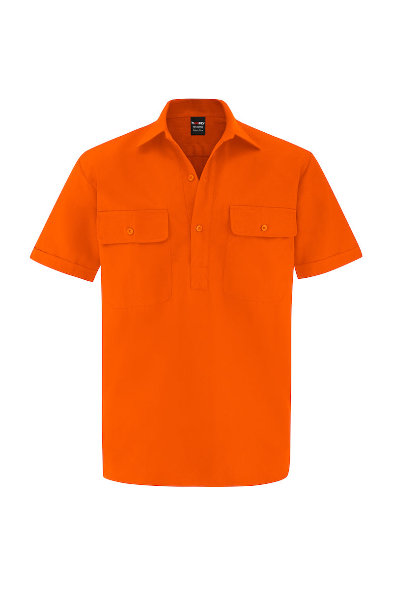 HIGH VIS SHORT SLEEVE CLOSED FRONT COTTON DRILL SHIRT-Riggers Online Store