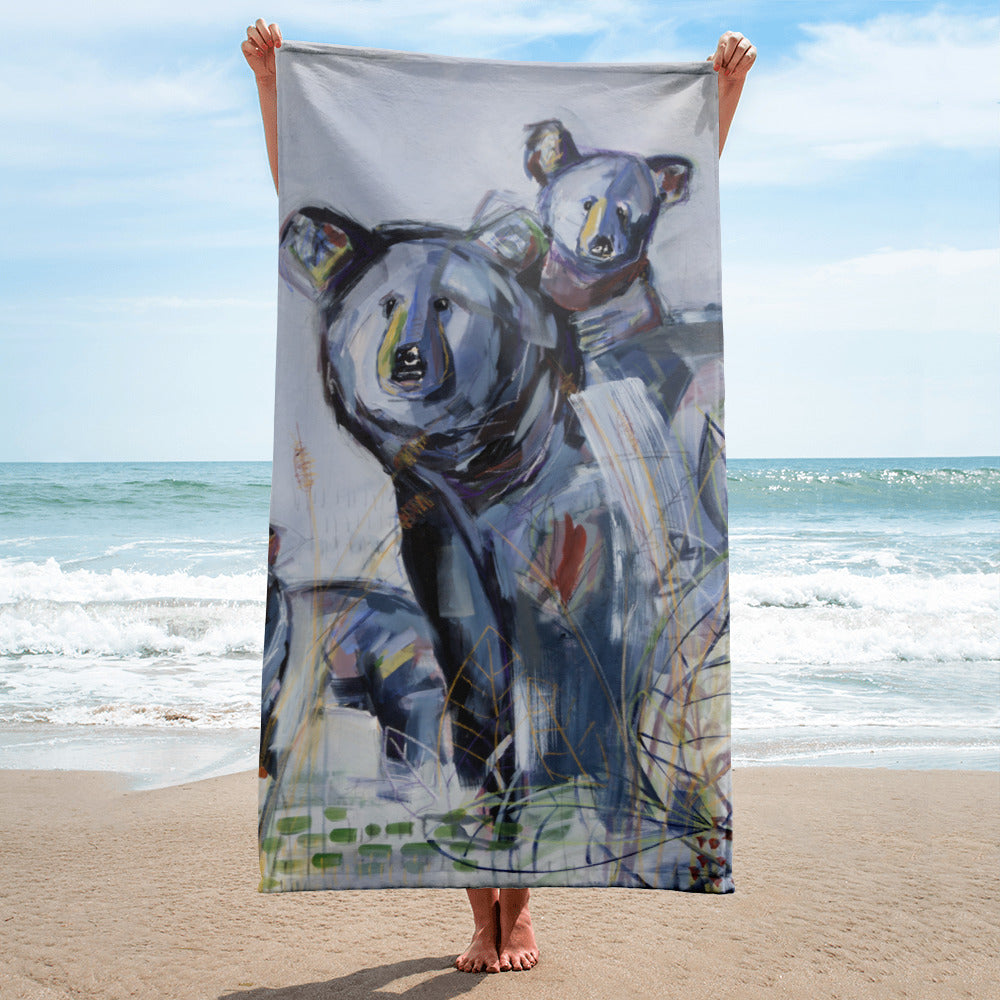 Bear beach towel with Andreina Bates original artwork