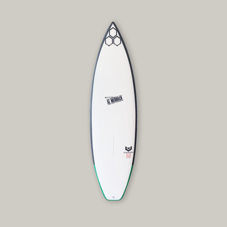 CI surfboards og flyer surfboard 5'6. Built with varial foam and infused glass for a long lasting, highly responsive surfboard. Performance surfboard, high performance surfboard, groveler surfboard, channel islands surfboard for sale, og flyer for sale, polyester surfboard resin, standard glass