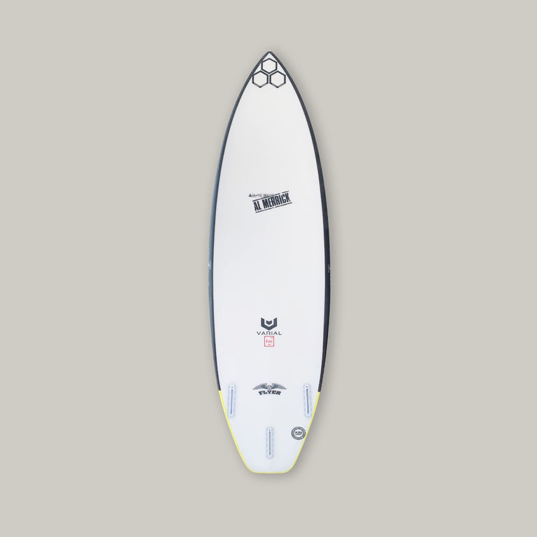 Channel Islands og flyer for sale. Performance surfboard with standard glass, futures fins, thruster setup, infused glass and varial foam. CI Surfboards Al Merrick logos, CI hex logos, varial logos. High performance surfboard, best surfboard technology, flyer surfboard