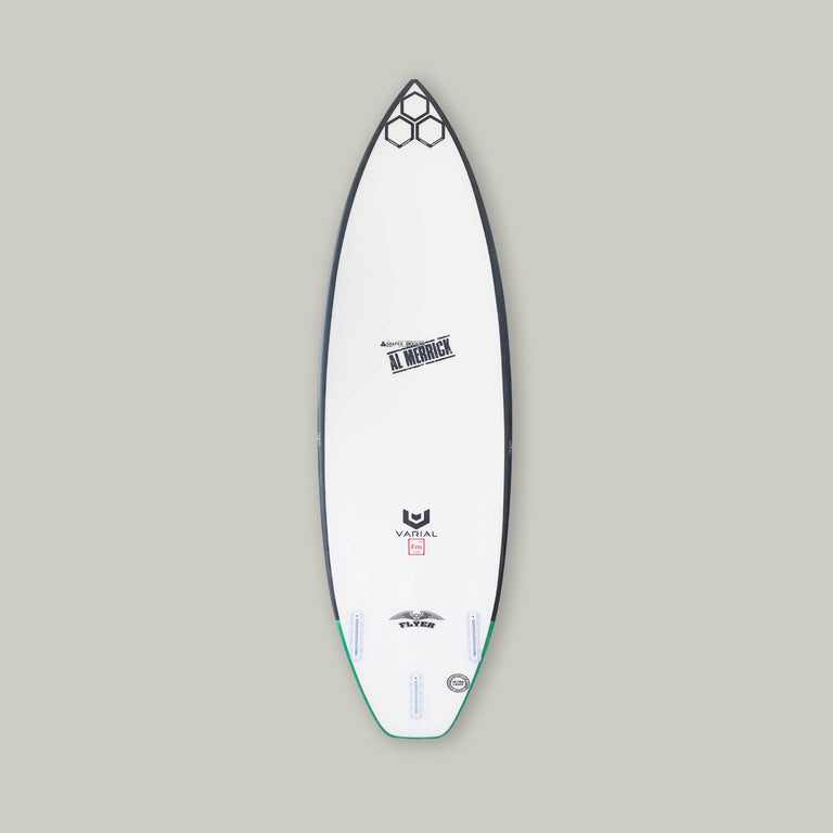 "Channel Islands OG Flyer 5'6"" with the best surfboard technology. Built with Varial foam surfboard blank and infused glass. CI thruster, white futures fin boxes, al merrick stamp, channel islands hex logo, varial logos"