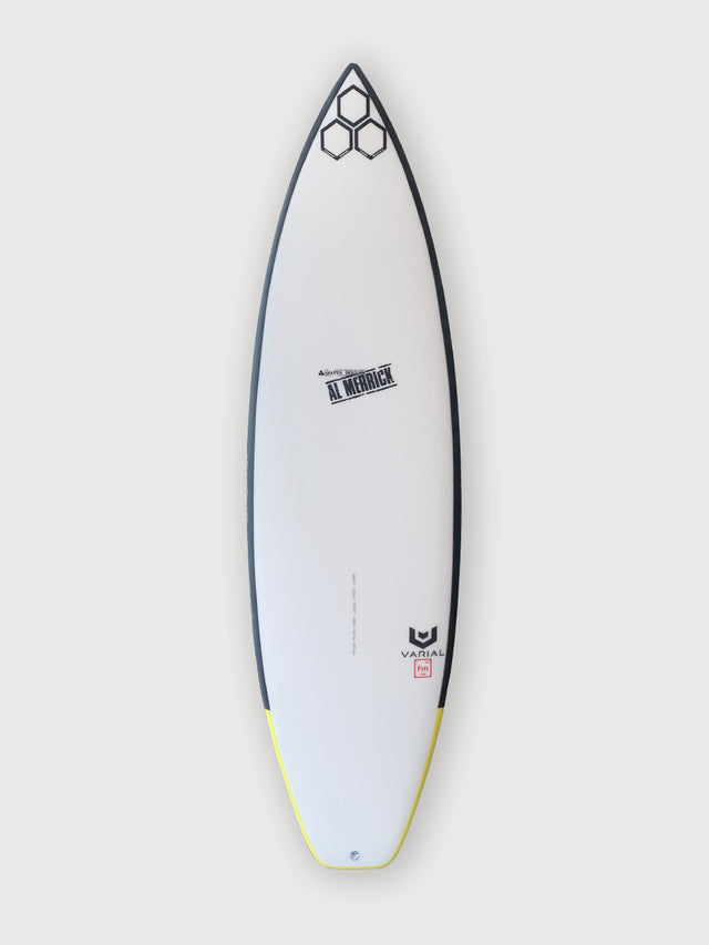 CI og flyer surfboard 5'10, with white futures fins boxes, varial surf technology foam surfboard blank, infused glass, channel islands al merrick stamp, standard glass, thruster surfboard, performance surfboard, high performance surfboard, groveler surfboard