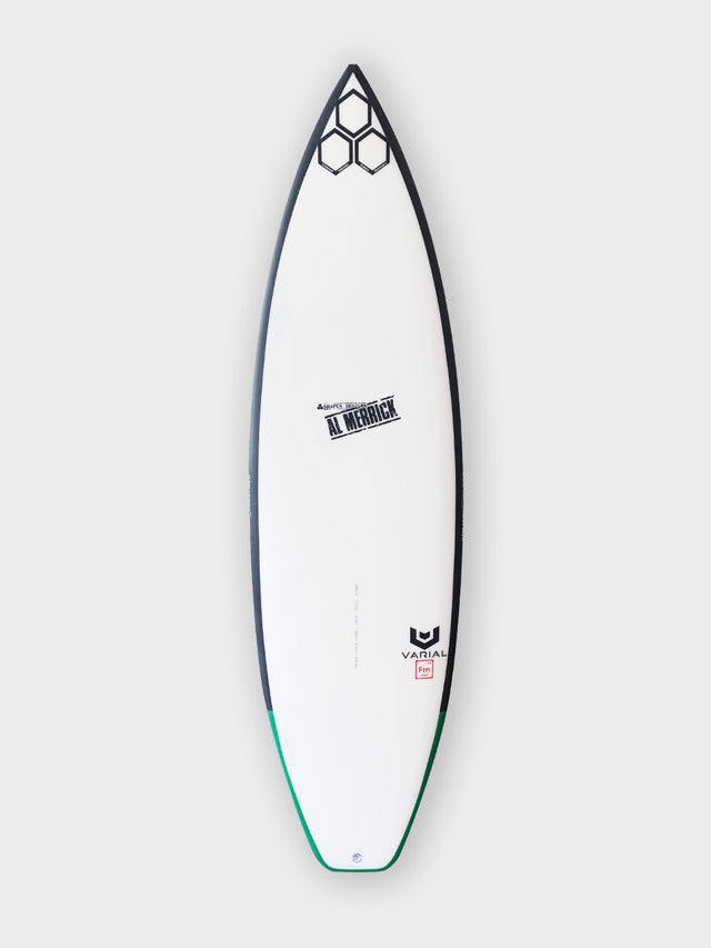 "Channel Islands OG Flyer 5'6"" with varial surf technology varial foam and infused glass. Custom surfboard art rail band, white futures fins, thruster"