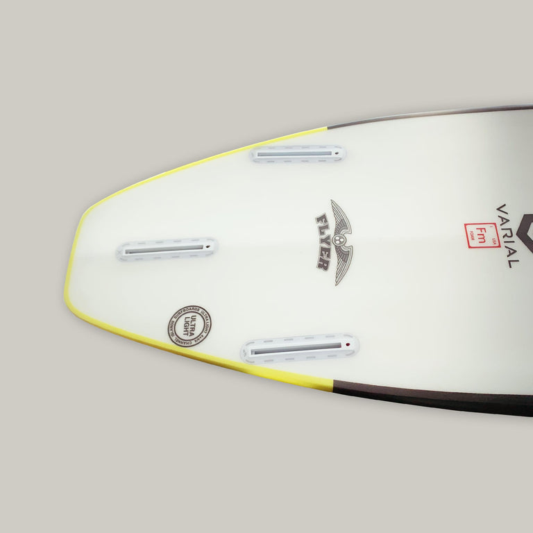Channel Islands og flyer 5'10 surfboard for sale and in stock. Groveler surfboard with standard glass, futures fins thruster, infused glass and varial foam. CI Surfboards Al Merrick logos, CI hex logos, varial logos. High performance surfboard, high tech surfboard, strong surfboard