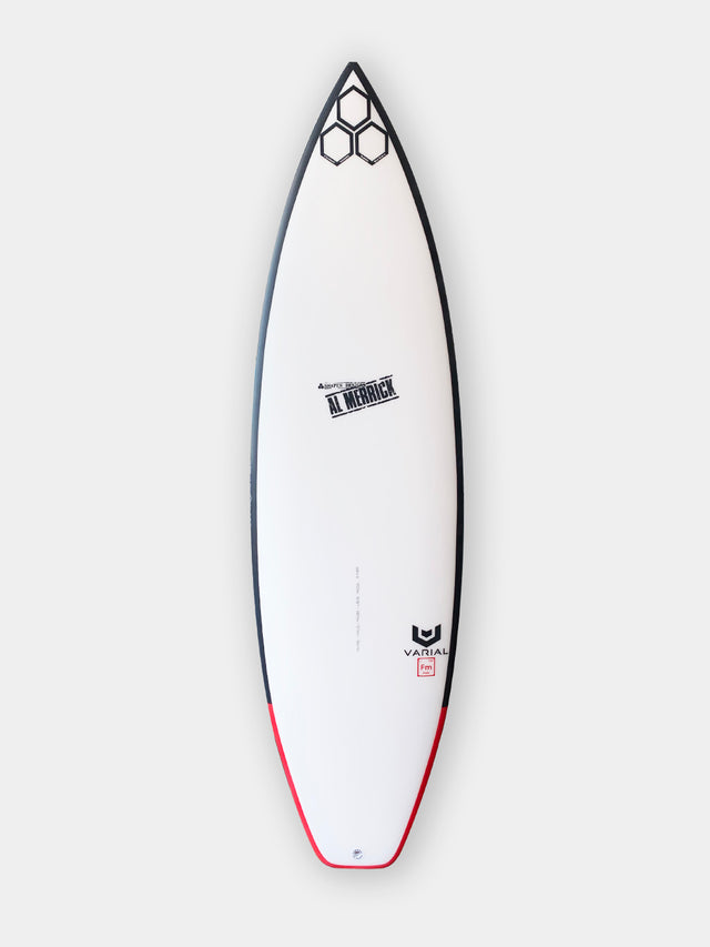 "Channel Islands og flyer surfboard for sale. 5'8"" og flyer. High performance surfboard with standard glass, futures fins, thruster setup, infused glass and varial foam. CI Surfboards Al Merrick logos, CI hex logos, varial logos."