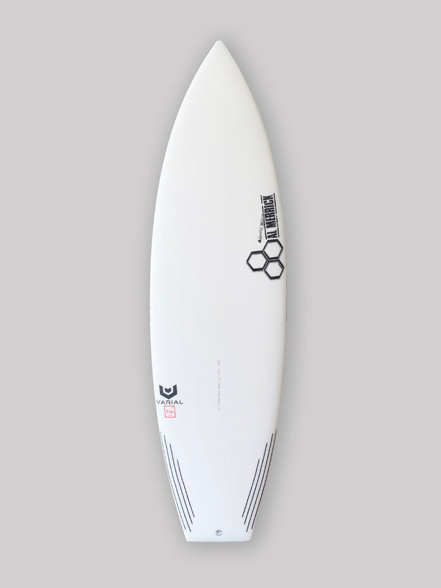 Channel Islands 5'6 neckbeard 2 surfboard for sale. In stock. Groveler surfboard, performance surfboard. Standard glass, futures fins thruster, infused glass and varial foam, surfboard carbon tail feature. CI Surfboards Al Merrick logos, CI hex logos, varial logos.