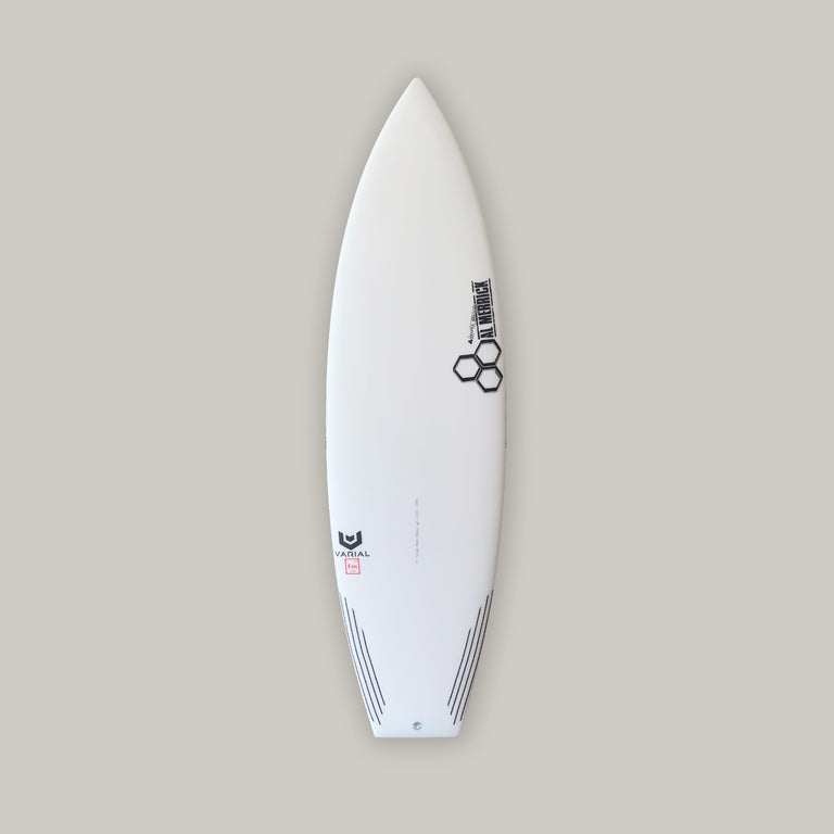 CI surfboards Neckbeard 2 surfboard 5'8. Built with varial foam and infused glass for a long lasting, highly responsive surfboard. 5-fin set up. Carbon tail feature.