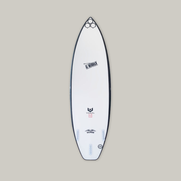 CI surfboards OG flyer surfboard 6'2. Built with varial foam and infused glass for a long lasting, highly responsive strong surfboard. 3-fin set up, white futures fins, black railband,  OG flyer, al merrick and varial logos.