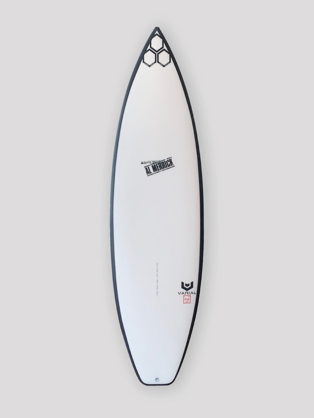 "Og flyer surfboard for sale. 6'0"" with varial surf technology infused glass and varial foam. Thruster surfboard, performance surfboard, groveler surfboard, channel islands surfboard, CI surfboard, polyester surfboard resin, standard surfboard glass layup, futures fins"