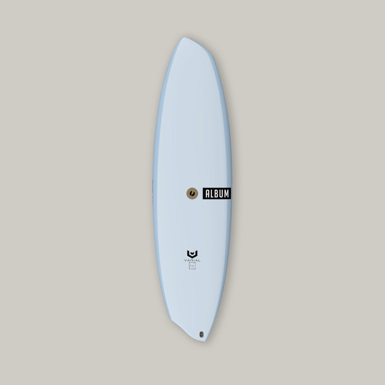 Album Surfboards Disasym custom surfboard. Performance surfboard constructed with Varial Foam and Infused Glass. Customize to your dimensions and specs. Asym surfboard model. Polyester or Epoxy. Custom airbrush color and design available. Futures or FCSII Fins. Best surf tech for a strong, light, fast surfboard.