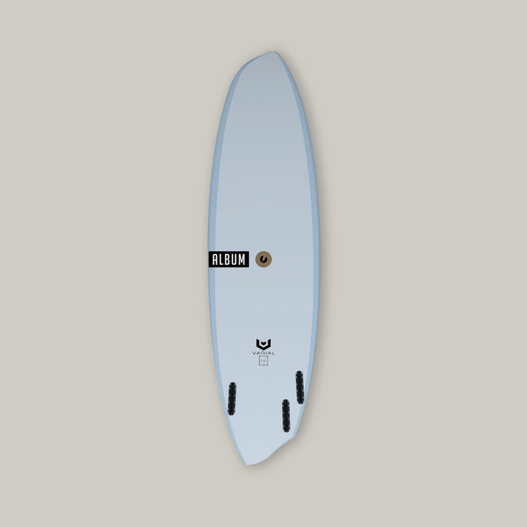Album Surfboards Disasym surfboard deck image. Constructed with the best surf tech Varial Foam and Infused Glass for a super strong surfboard. Customize to your dimensions and specs. Asym surfboard model. Polyester or Epoxy. Custom airbrush color and surfboard design available. Futures or FCSII Fins.