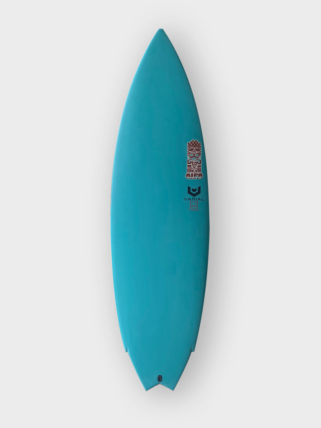 Akila Aipa twin surfboard with varial infused glass and varial foam. 5'8 akila aipa, stringerless foam core, vacuum bag glassing, blue resin pigment, twin surfboard, futures fins, in stock surfboard, akila aipa surfboard, performance surfboard, twin fin surfboard