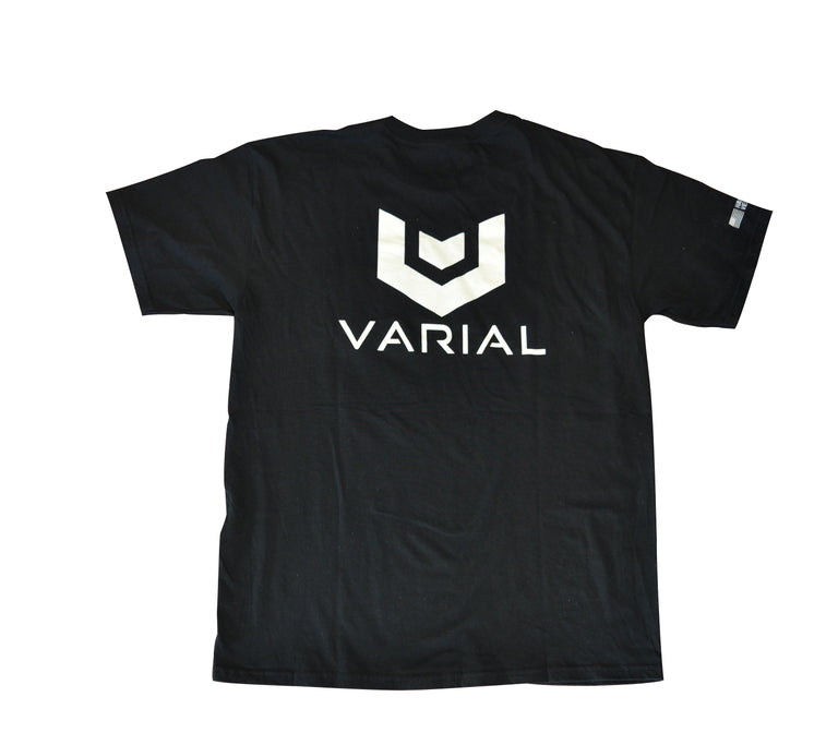Back image of Varial black pocket tee with large varial logo.