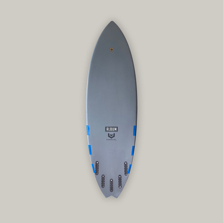 Album surfboard for sale. 5'9 insanity surfboard. Varial surf technology stringerless surfboard foam and infused glass. High performance surfboard, groveler surfboard, surfboard art. Josh Kerr model. Polyester resin, futures fins, 5 fin set up.