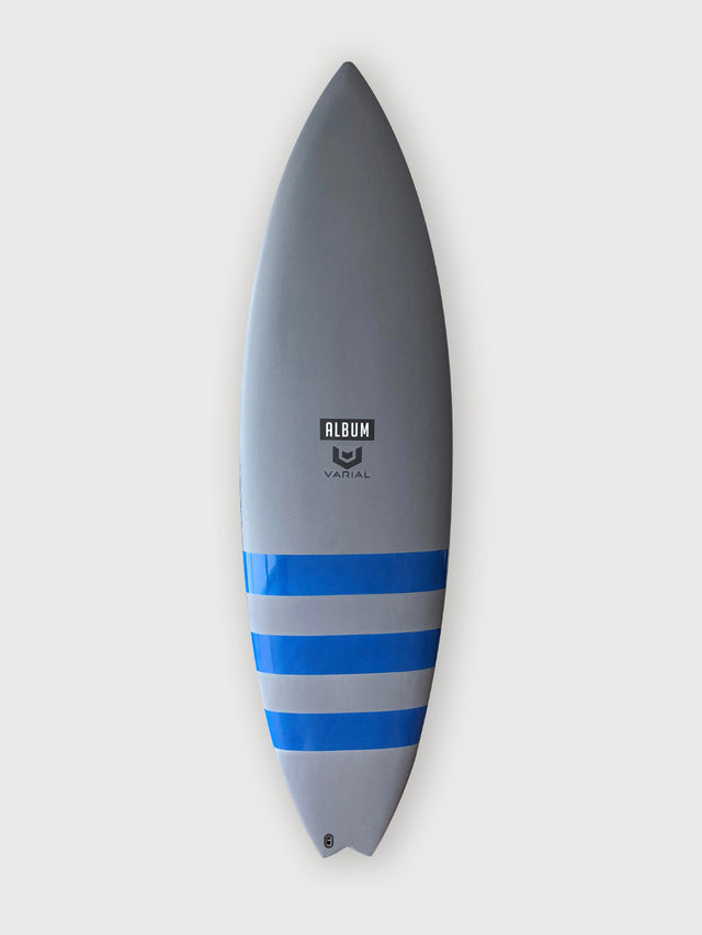 Album 5'9 insanity surfboard. High performance surfboard, groveler surfboard, surfboard art. Josh Kerr model. Varial surf technology stringerless surfboard foam and infused glass. Polyester resin, futures fins, 5 fin set up.