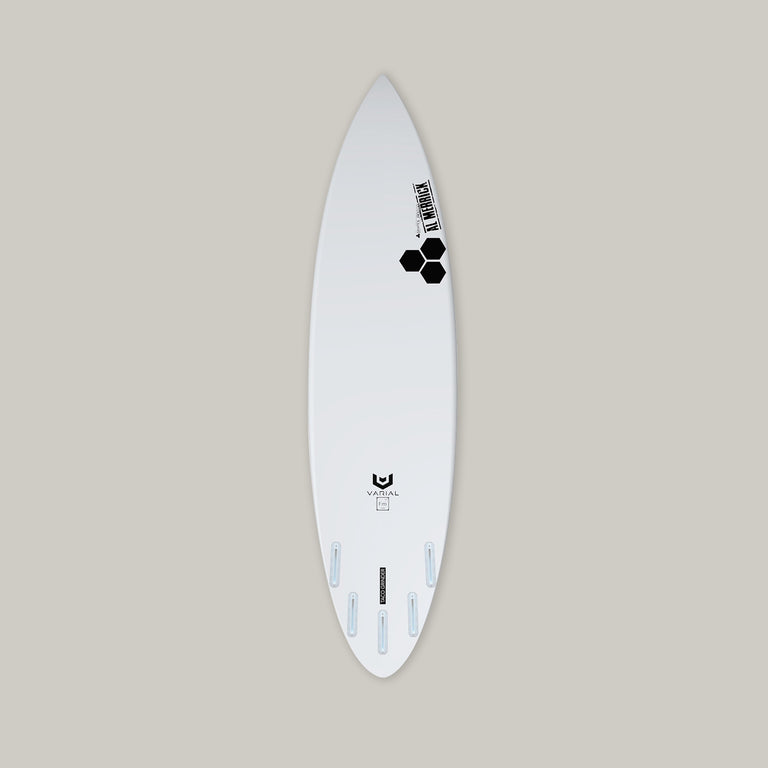 Custom channel taco grinder surfboard. Constructed with varial surf technology infused glass and varial foam for a lighter, faster, stronger surfboard. Custom surfboard dimensions, custom surfboard tail, custom surfboard layup, custom surfboard airbrush, different fin set up options, thruster set up, quad set up, 5 fin setup. Completely customizable surfboard. Step-up surfboard, performance surfboard, channel islands surfboard