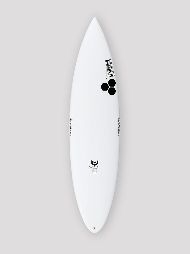 Channel Islands Surfboards Taco Grinder. Built with Varial Foam and Infused Glass Technology. Fully customizable step-up surfboard. Twin Keel Set up. Epoxy or polyester resin, Futures of FCSII fins, colored airbrush and custom glass.