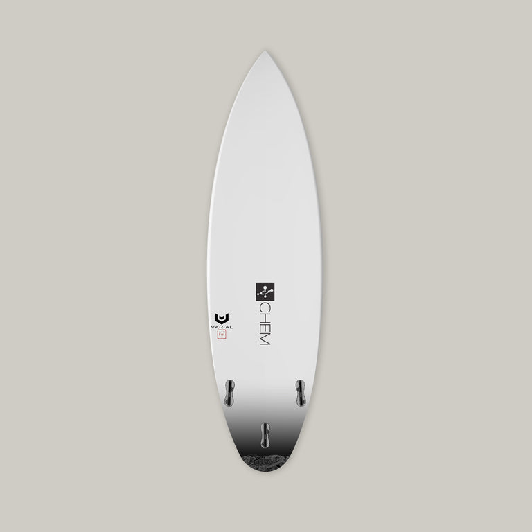 Chemistry Surfboards B-Side Surfboard bottom. Constructed with Varial Foam and Infused Glass Technology. Fully customizable performance surfboard. Epoxy or polyester resin, Futures of FCSII fins, colored airbrush and custom glass.