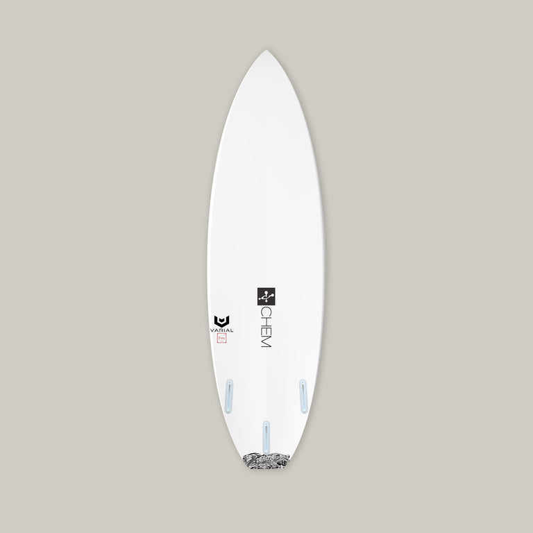 Chemistry surfboard flashpoint varial foam surfboard. With varial surf technology vacuum bagged surfboard infused glass. Custom surfboard paint, custom surfboard fins, custom surfboard glass and polyester resin or epoxy resin.