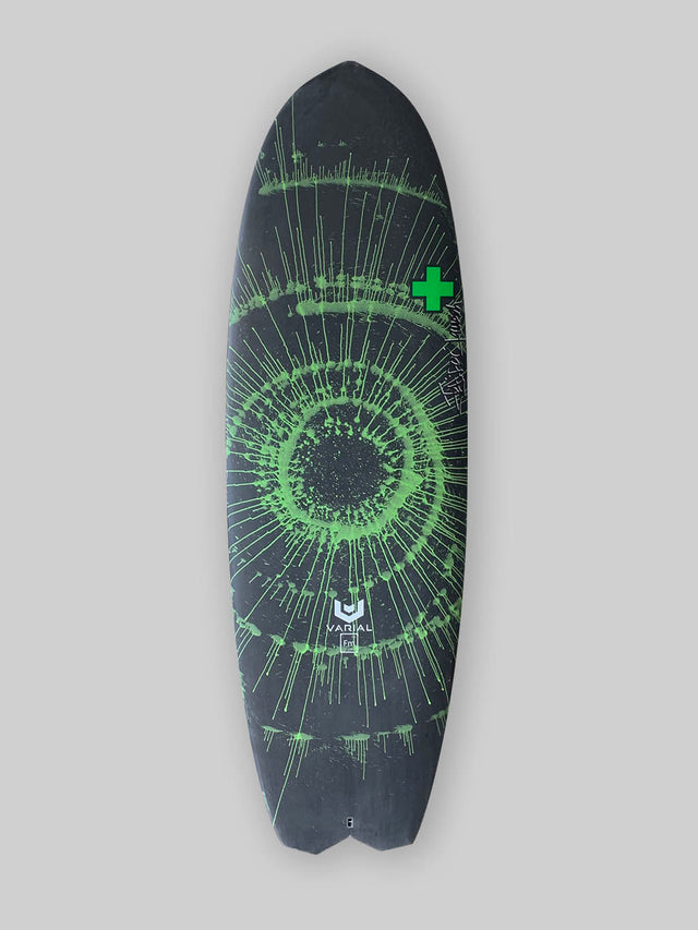 "Surf Prescriptions 5'8"" Deadly Flying Turtle surfboard deck image. Groveler surfboard for sale built with the best surf technology. Varial foam surfboard blank construction and vacuum bag Infused glass for a long lasting, highly responsive surfboard. Polyester resin, 4-fin Futures, custom surfboard fluoro green spin art."